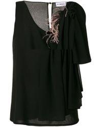 Ainea Black Asymmetric Sleeve Blouse
