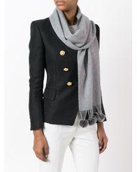 N.Peal Cashmere ポンポン装飾 カシミアスカーフ Gray