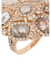 Saqqara - Metallic 'coral' Diamond Ring - Lyst