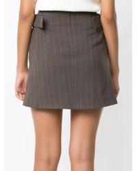 Egrey Brown Side Buckles Straight Skirt