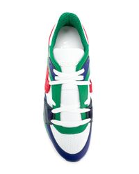 Versace Green Grecca Detail Sneakers for men