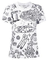 Pull à imprimé graphique Junya Watanabe en coloris White
