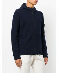 Stone Island   Blue Maglia Zipped-up Hoodie for Men   Lyst