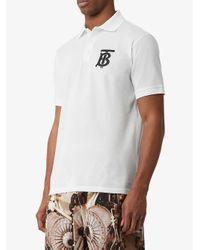 メンズ Burberry モノグラム ポロシャツ White