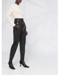 Twin Set Black High-waisted Faux Leather Trousers