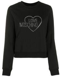 Толстовка С Логотипом Из Страз Love Moschino, цвет: Black