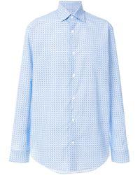 Ferragamo Blue Gancini Print Shirt for men