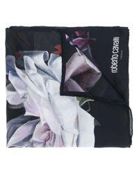 Foulard à fleurs Roberto Cavalli en coloris Black