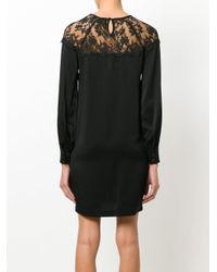 Ki6? Who Are You? Black Shift Dress With Lace Shoulder Insets