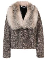 Oscar de la Renta - Multicolor Camouflage Print Fur Jacket - Lyst