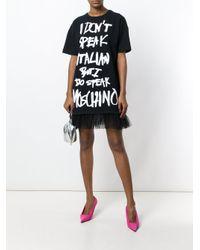 Moschino Black Slogan Printed T-shirt Dress