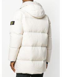 Stone Island White Hooded Puffer Coat for men