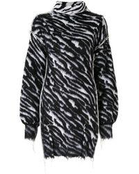 Unravel Project Black Zebra Print Short Dress
