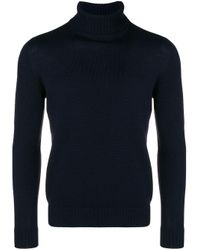 メンズ Drumohr ロールネックセーター Blue