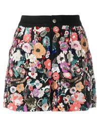 Etro Black Patterned Shorts Multicolour