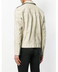 Salvatore Santoro White Marble Effect Biker Jacket for men