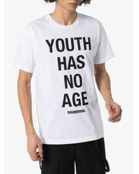 Camiseta con eslogan estampado Neighborhood de hombre de color White