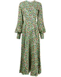 ROTATE BIRGER CHRISTENSEN Green Maxikleid mit Blumen-Print