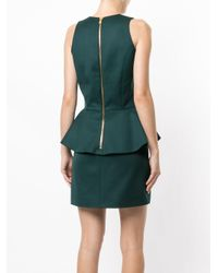 Balmain Green V-neck Fitted Dress