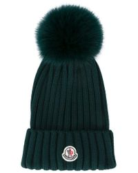 58d465469df Lyst - Moncler Bobble Top Beanie in Green