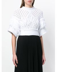 RED Valentino White Cropped Crochet Jumper