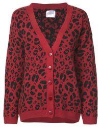 Cardigan Justine leopardato di Anine Bing in Red