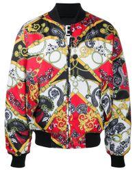 Versace Jeans Black Baroque-print Bomber Jacket for men