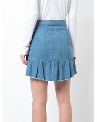 PAIGE Blue Ruffled Wrap Denim Skirt