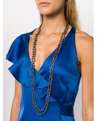 Ann Demeulemeester - Blue Long Crystal Chain Necklace - Lyst