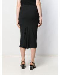 Rick Owens Black Ribbed Midi Pencil Skirt
