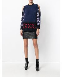 Versace Blue Open Shoulder Sweater
