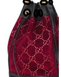メンズ Gucci GGベルベット バケットバッグ Red