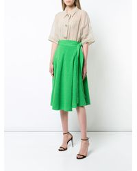 Veronique Leroy Green Wrap A-line Skirt