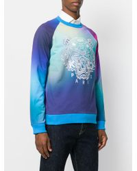 KENZO Blue Printed Sweatshirt for men