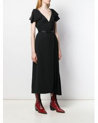 Prada ベルテッド プリーツドレス Black