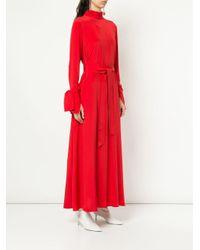 LAYEUR ベルテッド ロングドレス Red