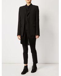 Maison Margiela Black Fringed Front Blazer