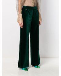 Temperley London Green Velvet Flared Trousers