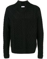 Coohem Black Aran Patchwork Knitted Jumper for men