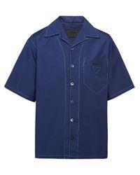 メンズ Prada トップステッチ ボウリングシャツ Blue