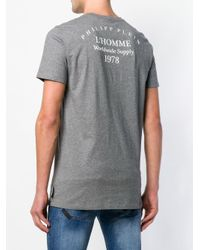 メンズ Philipp Plein スカルプリント Tシャツ Gray