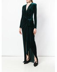 Alexandre Vauthier Green V-neck Long Wrap Dress