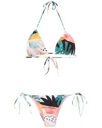 Brigitte Bardot Multicolor Printed Triangle Bikini Set