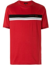 メンズ BOSS by Hugo Boss ストライプ Tシャツ Red