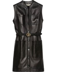 Gucci Black Belted Leather Dress