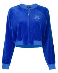 Juicy Couture Blue Swarovski Personalisable Velour Crop Jacket