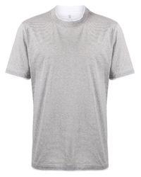 T-shirt a righe di Brunello Cucinelli in White da Uomo
