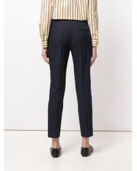 Jil Sander Navy Blue Cropped Tailored Trousers