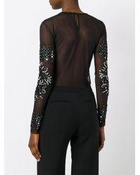 Amen Black Embellished Sheer Bodysuit
