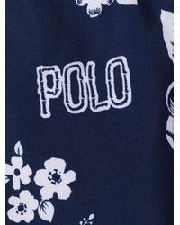 メンズ Polo Ralph Lauren フローラル トランクス水着 Blue